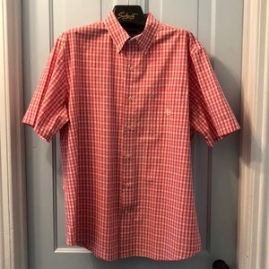 Chaps men's short sleeve dress shirt XL pink check